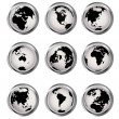 Web buttons with Earth globes — ストック写真