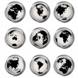 Web buttons with Earth globes — Stockfoto