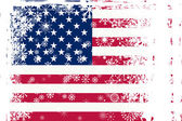 American flag with snowflakes grunge — Stock Photo