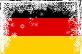 German flag with snowflakes grunge — Stock Photo