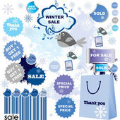 Winter sale-set of stickers and labels — Stock Photo
