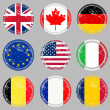 Grunge rubber stamps with flags — Stock Photo