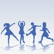 Hand drawn happy children silhouettes playing — Stock Photo