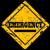 Grunge sign with the word emergency — Stock Photo