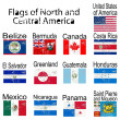 Stock Photo: Flags of North and Central America, no transparency