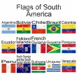 Stock Photo: Flags of South America