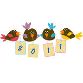 Birds holding banners with 2011tags — Stock Photo