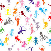Pattern with colored stylized kids — Stock Photo
