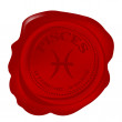 Wax seal with pisces zodiac symbol — Stock Photo