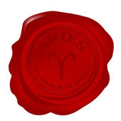 Wax seal with aries zodiac symbol — Stock Photo