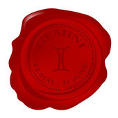 Wax seal with gemini zodiac symbol — Photo
