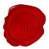 Wax seal with scorpio zodiac symbol — Stock Photo