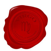 Wax seal with virgo zodiac symbol — Stock Photo