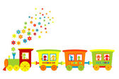 Toy train with happy kids — Stock Photo
