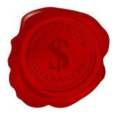 Wax seal with money back guarantee — Stock Photo