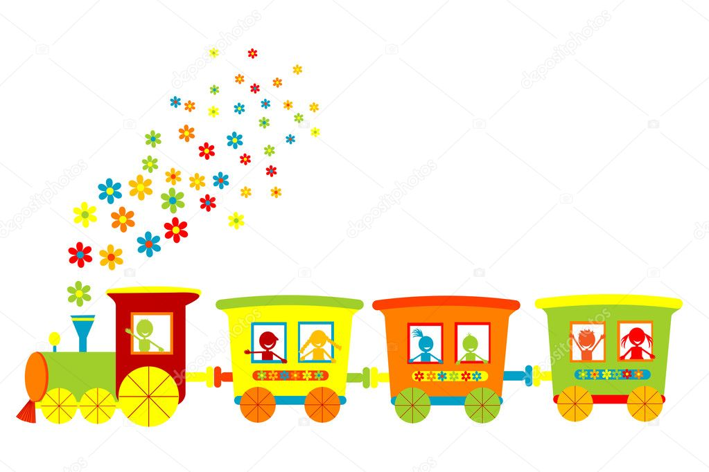 Toy train with happy kids — Stock Photo #4588185