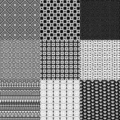 Set of nine black and white geometrical patterns — Stock Photo