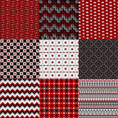 Set of nine geometrical retro backgrounds in red , black and whi — Stock Photo