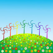 Wind mills in rainbow colors, eco concept — Stock Photo