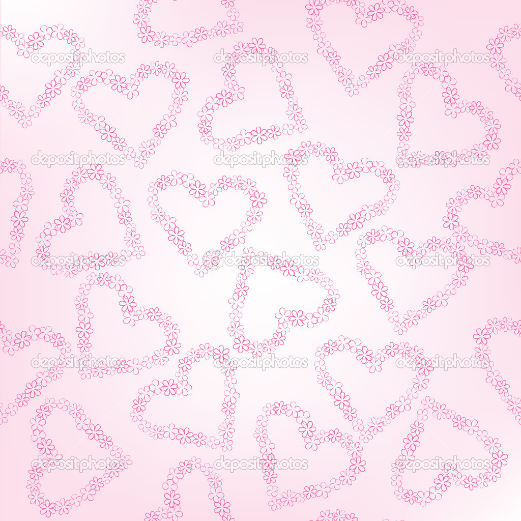 Whimsical floral hearts, seamless pattern — Stock Photo #4660539