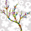 Abstract tree with multicolored flowers — Stock Photo