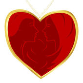 Abstract heart pendant with man and woman profiles — Stock Photo