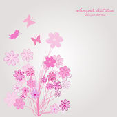 Spring composition with pink flowers and butterflies — Stock Photo