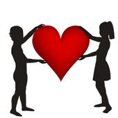 Two hand drawn children silhouettes holding a heart — Stock Photo