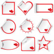 Set of stickers with hearts, for Valentine's day — Stock Photo