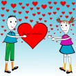 Valentine's Day cartoon card with kids holding a big heart — Stock Photo