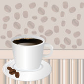 Cup of coffee over striped background with rosted coffee beans — Stock Photo