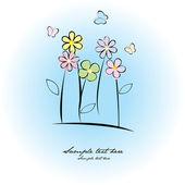 Tarjeta de felicitación con flores y mariposas — Foto de Stock