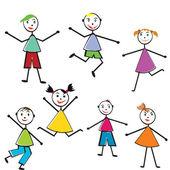 Group of doodle children having fun — Stock Photo