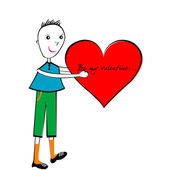 Valentine's Day cartoon card, handmade boy with a big heart — Stock Photo