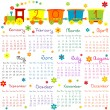 2011 calendar with train for kids - Stock Photo