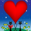Valentine's Day illustration with cats — Stock Photo