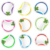 Set of round curled stickers corners with clovers for St. Patric — Stock Photo