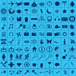 Blue web icons set — 图库照片