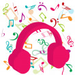 Pink headphones on background with musical notes — Stock Photo
