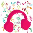 Stock Photo: Pink headphones on background with musical notes