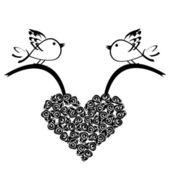 Birds holding a roses heart — Stock Photo