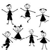 Black doodle kids on white background — Stock Photo