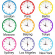 Stock Photo: Colored clocks with hours around the world