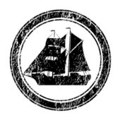 černé razítko s brigantine — Stock fotografie