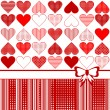 Greeting card with stylized hearts and bow — Stock Photo
