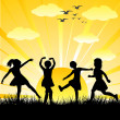 图库照片: Hand drawn children silhouettes playing in a shiny day