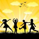 ręcznie rysowane dzieci sylwetki grając w błyszczący dzień — Zdjęcie stockowe