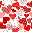 Seamless pattern background with red stylized hearts - 图库照片