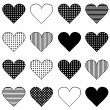 Set of black stylized hearts — Stock Photo