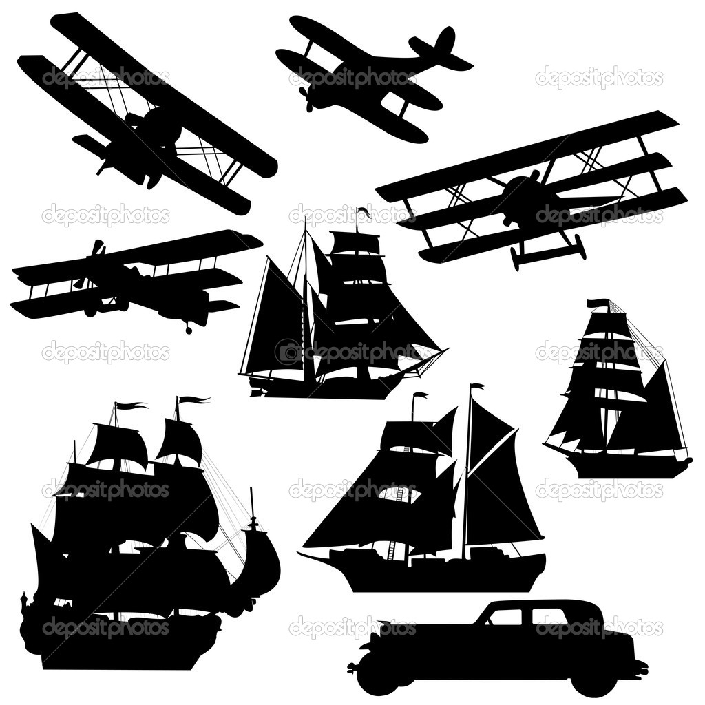 Silhouette of old transportation vehciles — Stock Photo #5130215